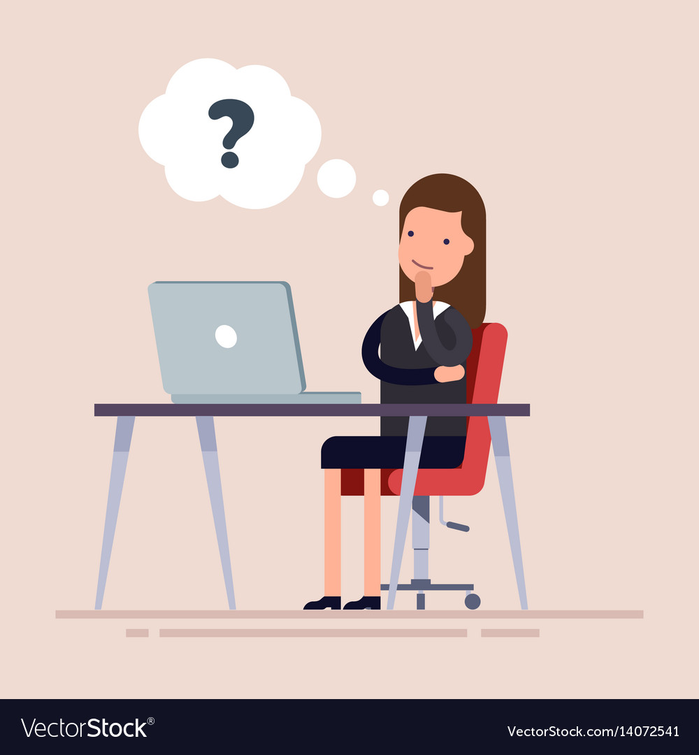 Businesswoman or an employee sitting with laptop