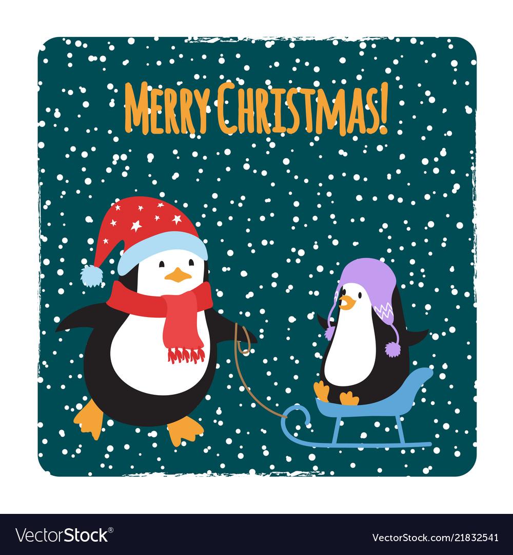 Cute cartoon family penguins christmas cards
