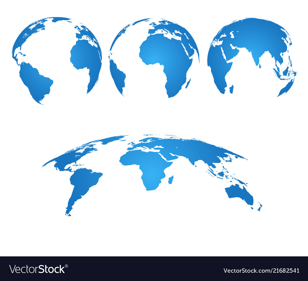 Earth Globe 3d World Map With Silhouette Vector Image