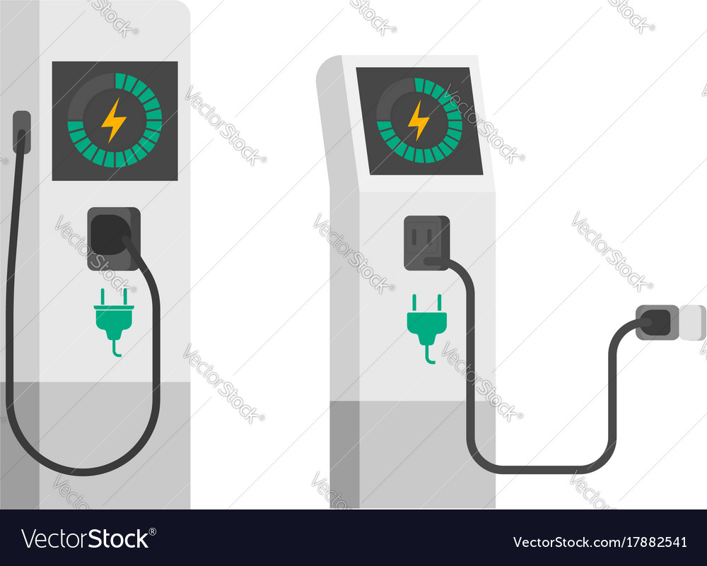 Electric Car Charger Flat Vector Image