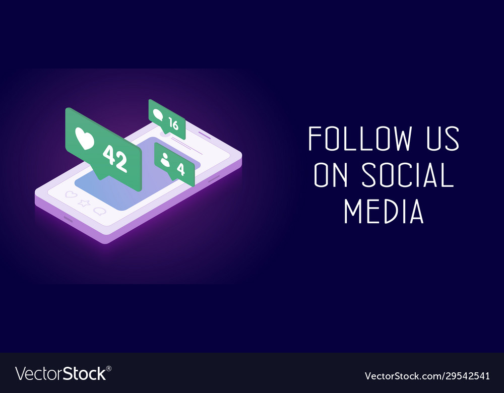 Follow us on social media networks banner concept