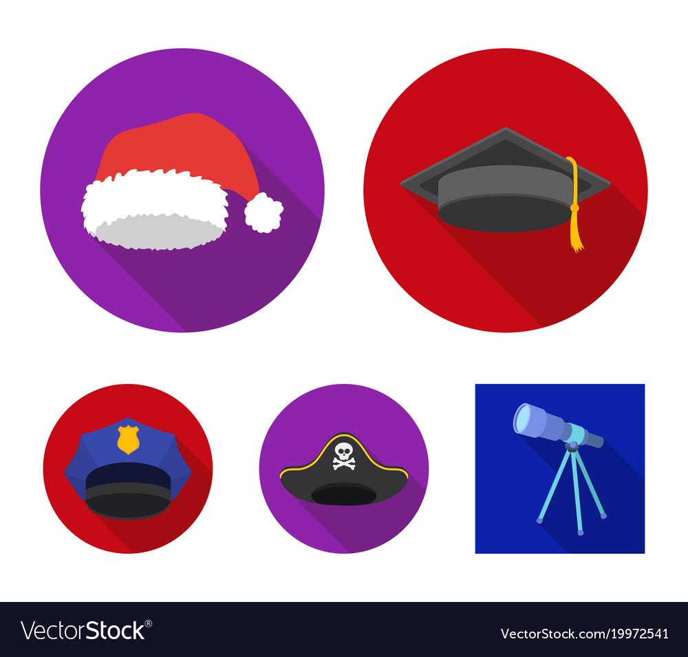 43866e24f5b Graduate santa police pirate hats set vector image on VectorStock