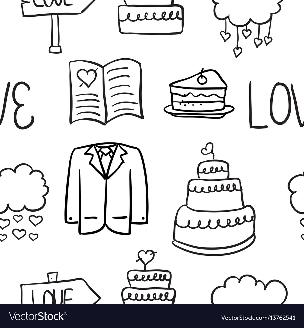 Hand draw wedding element doodles