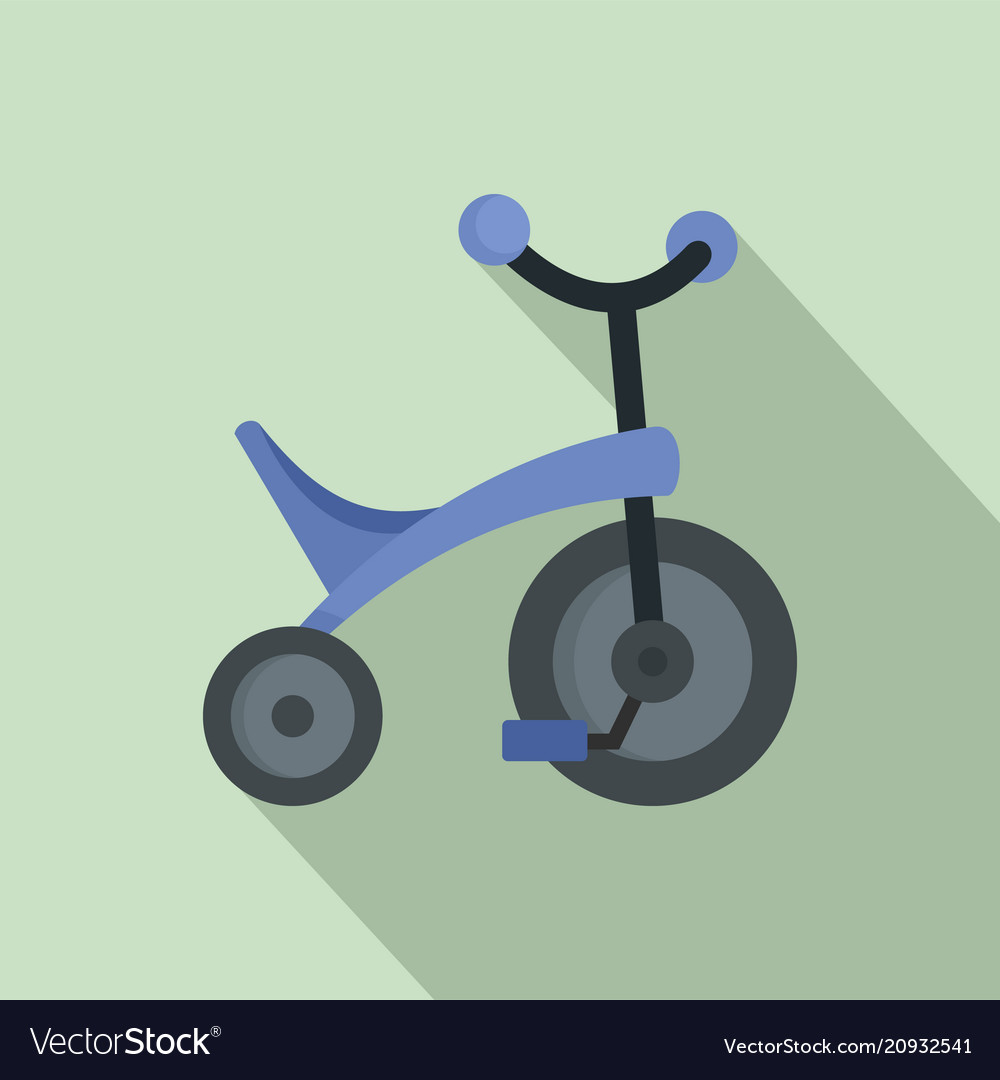 Purple tricycle icon flat style