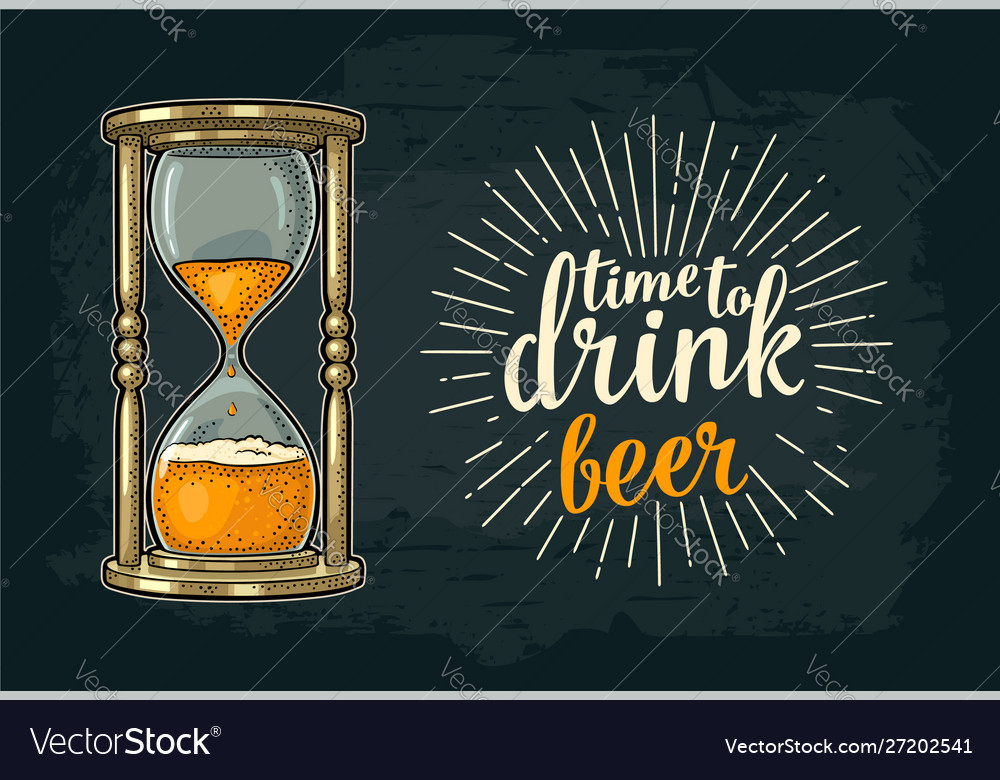 Retro hourglass with beer vintage
