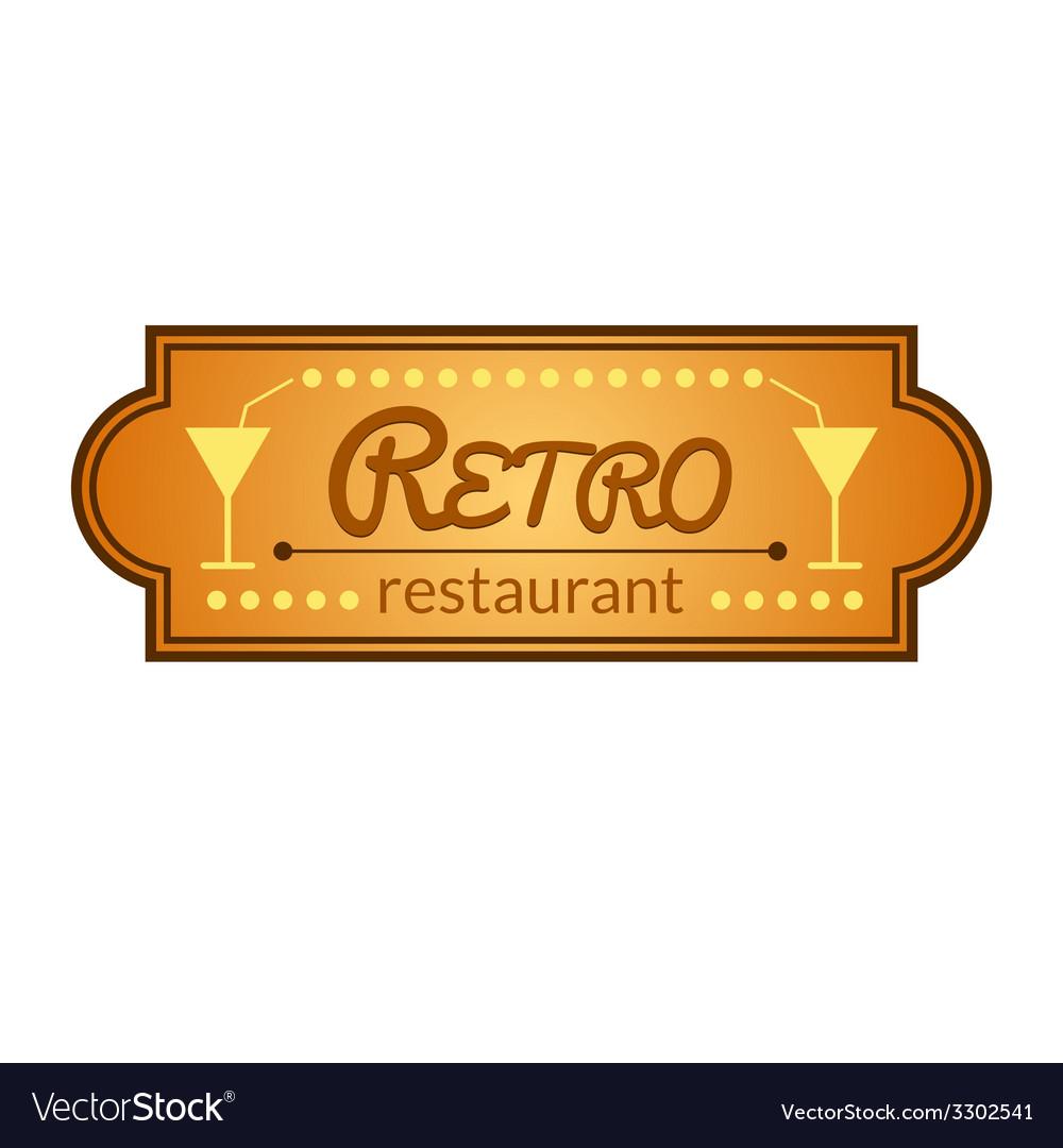 Retro restaurant label vector image
