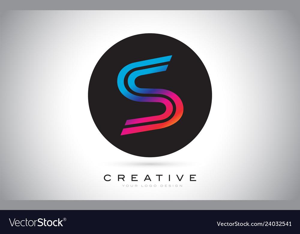 S blue purple letter logo design colorful modern