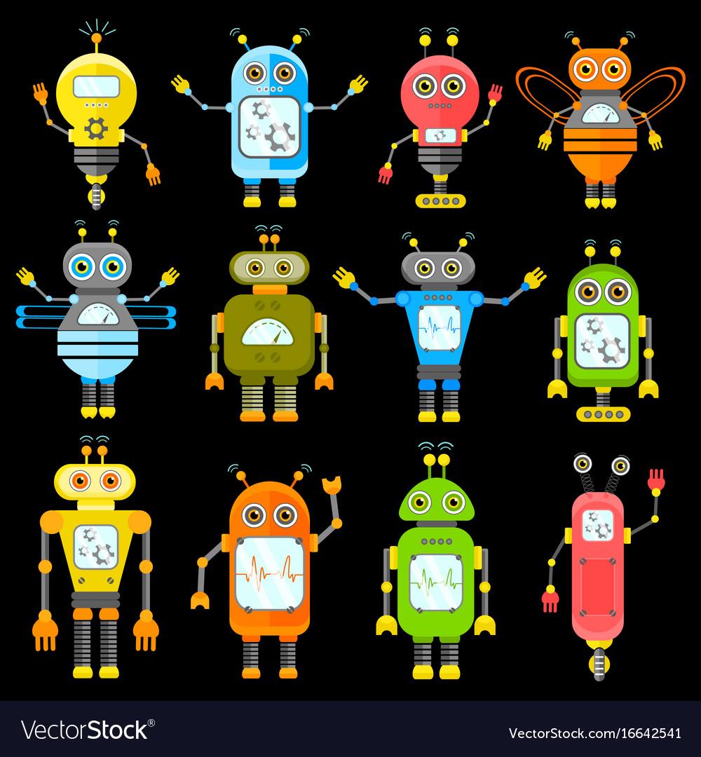 Set of robots in cartoon style