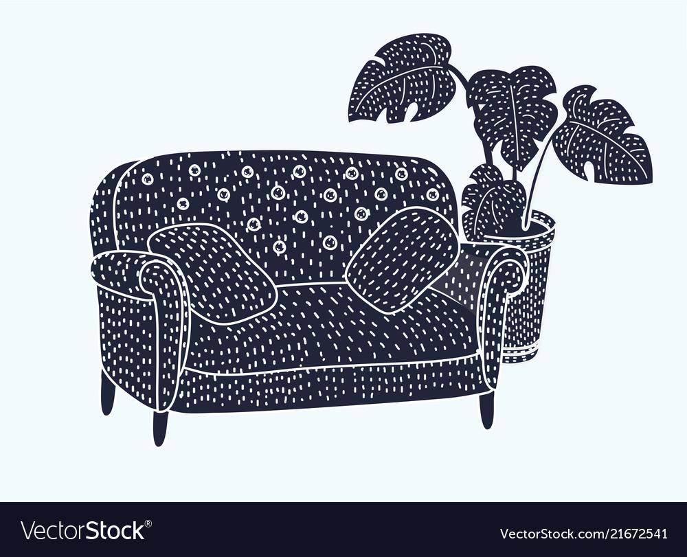 Sofa black and white icon