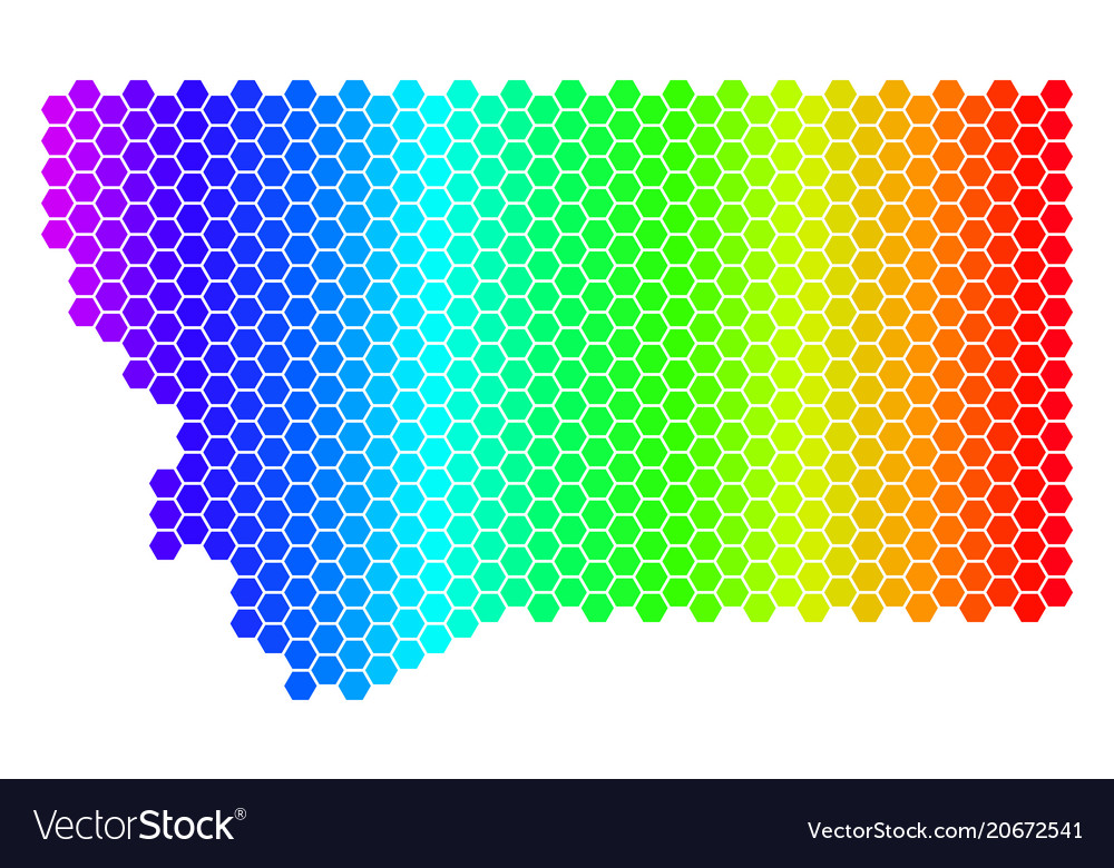 Spectrum hexagon montana state map Royalty Free Vector Image