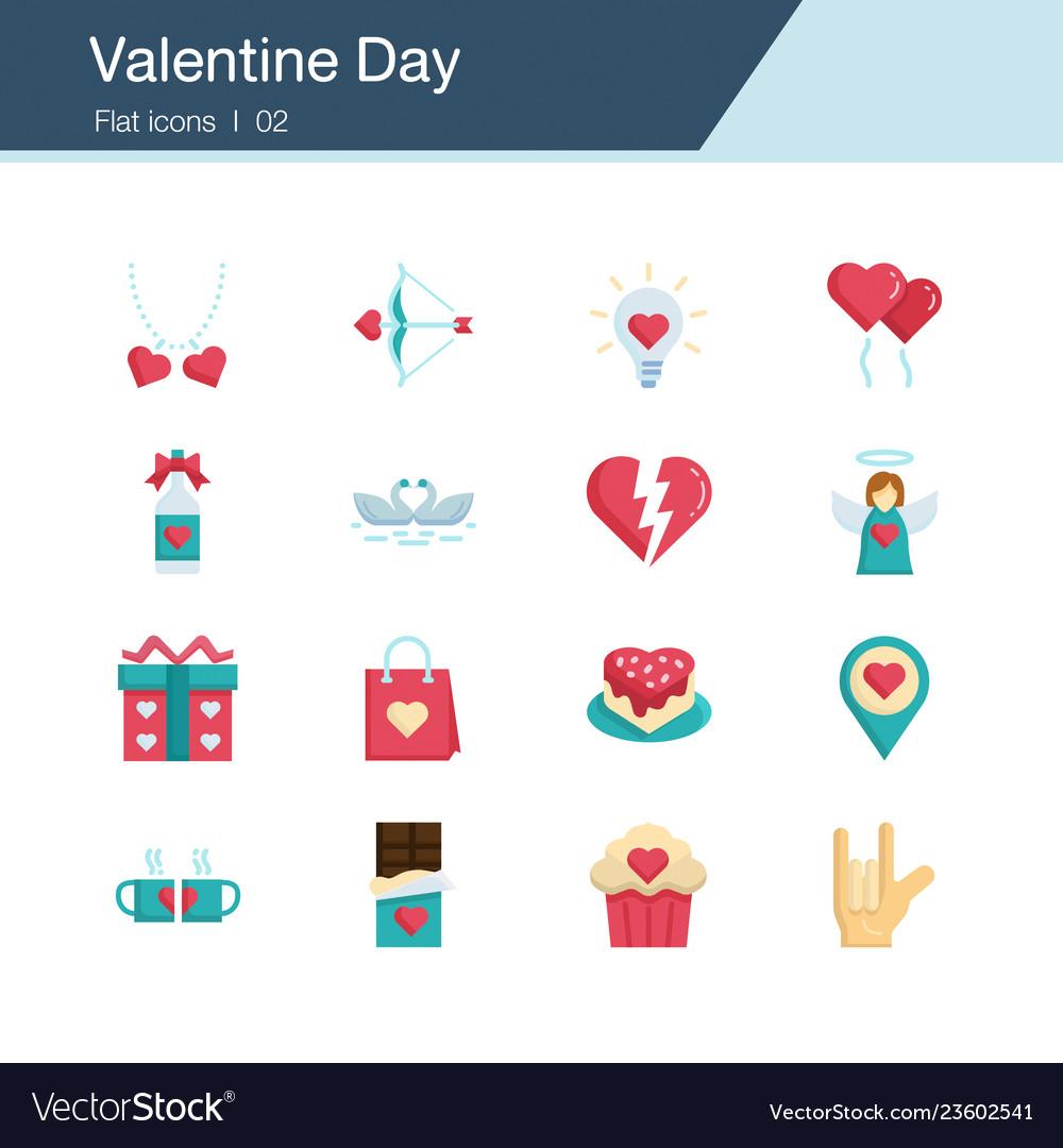 Valentine day icons flat design