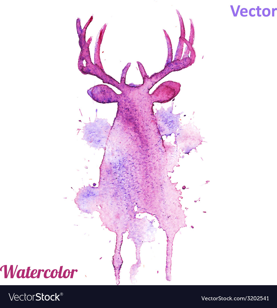 Watercolor deer head on white background