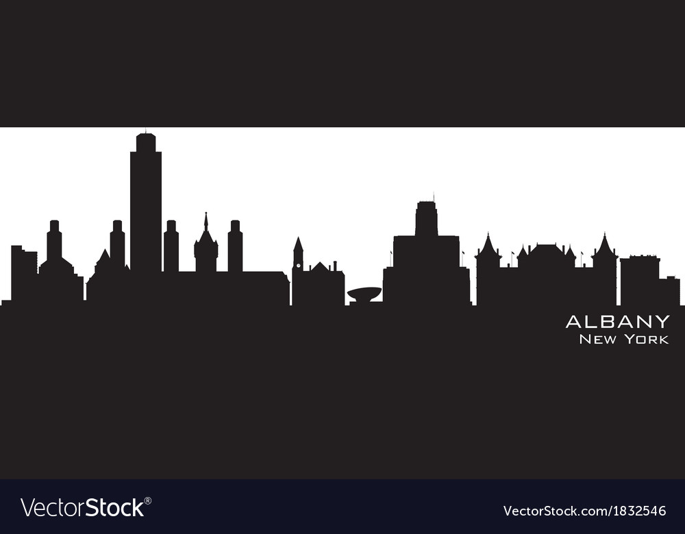 Albany New York skyline Detailed silhouette vector image