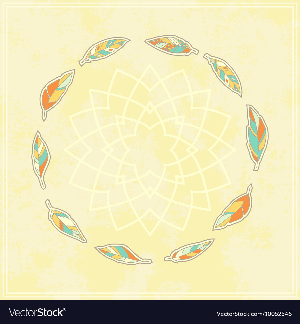 Background with tribal feather circle vector image