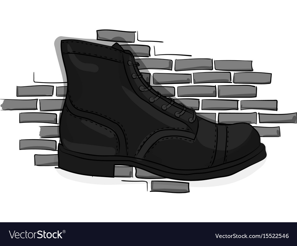 Black lace-up shoes against a light gray brick