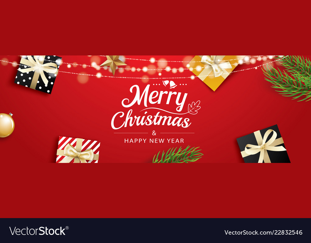 Christmas greeting card with gift boxes on red