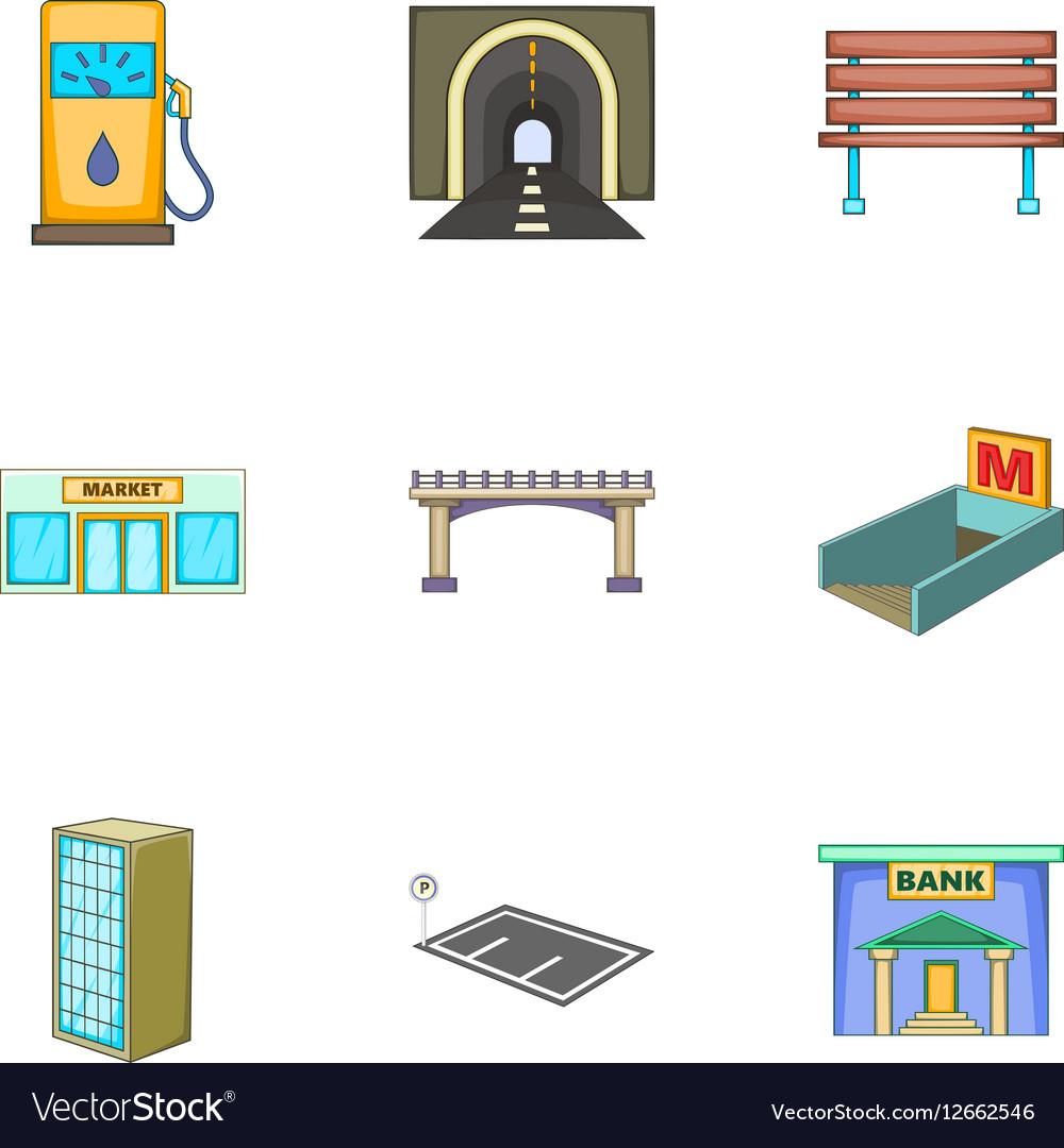 City landscape icons set cartoon style