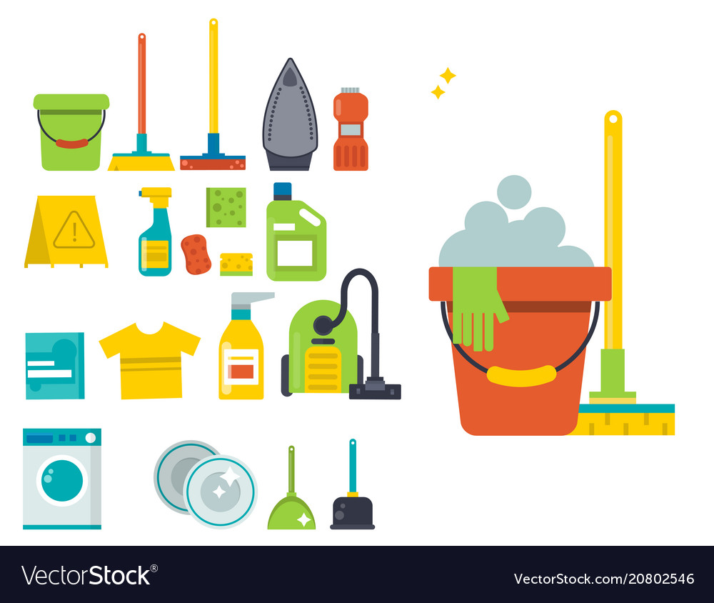 Cleaning service emblems labels design home