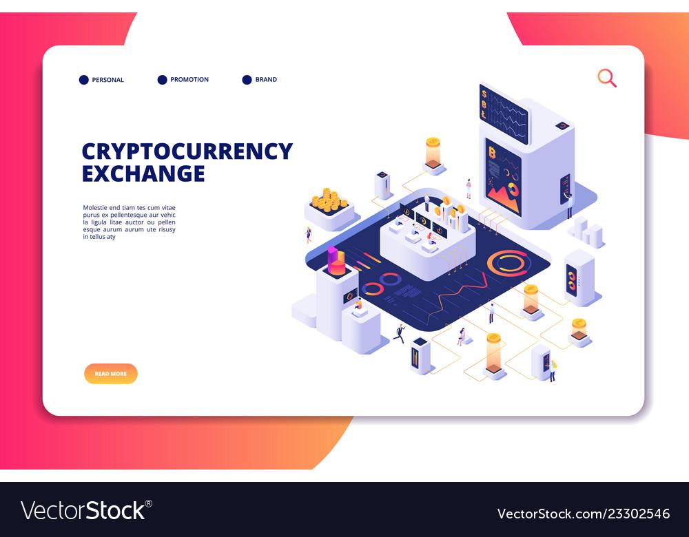 Cryptocurrency exchange isometric concept