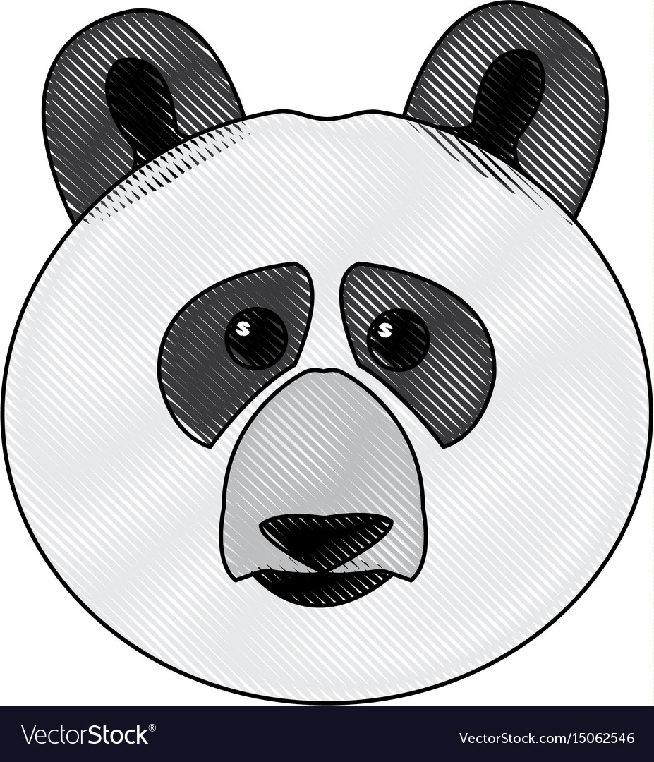 Cute face panda bear animal cartoon