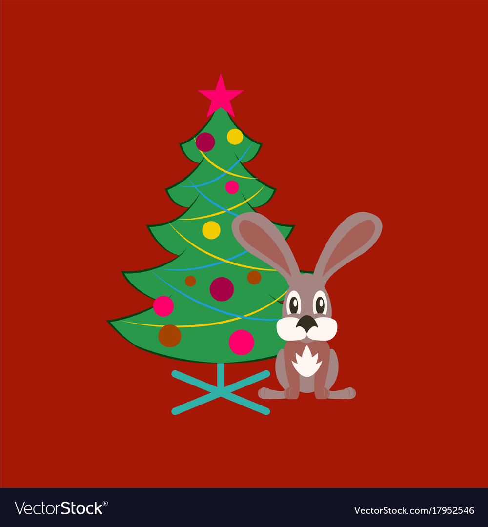 Flat On Background Of Christmas Tree Rabbit