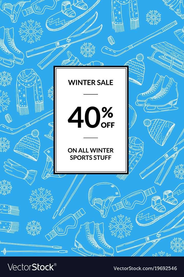Hand drawn winter sports equipment vector