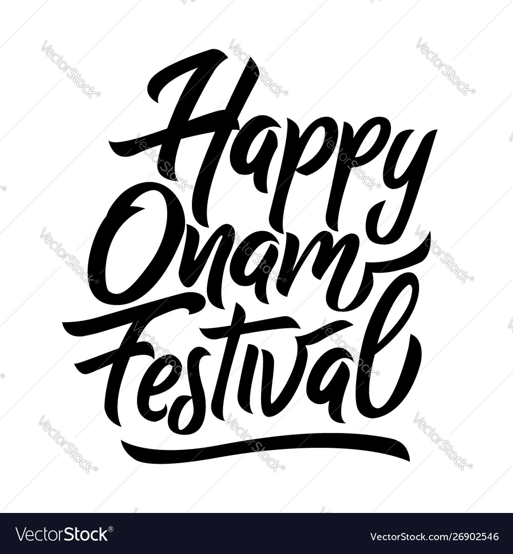 Happy onam festival black handwriting lettering
