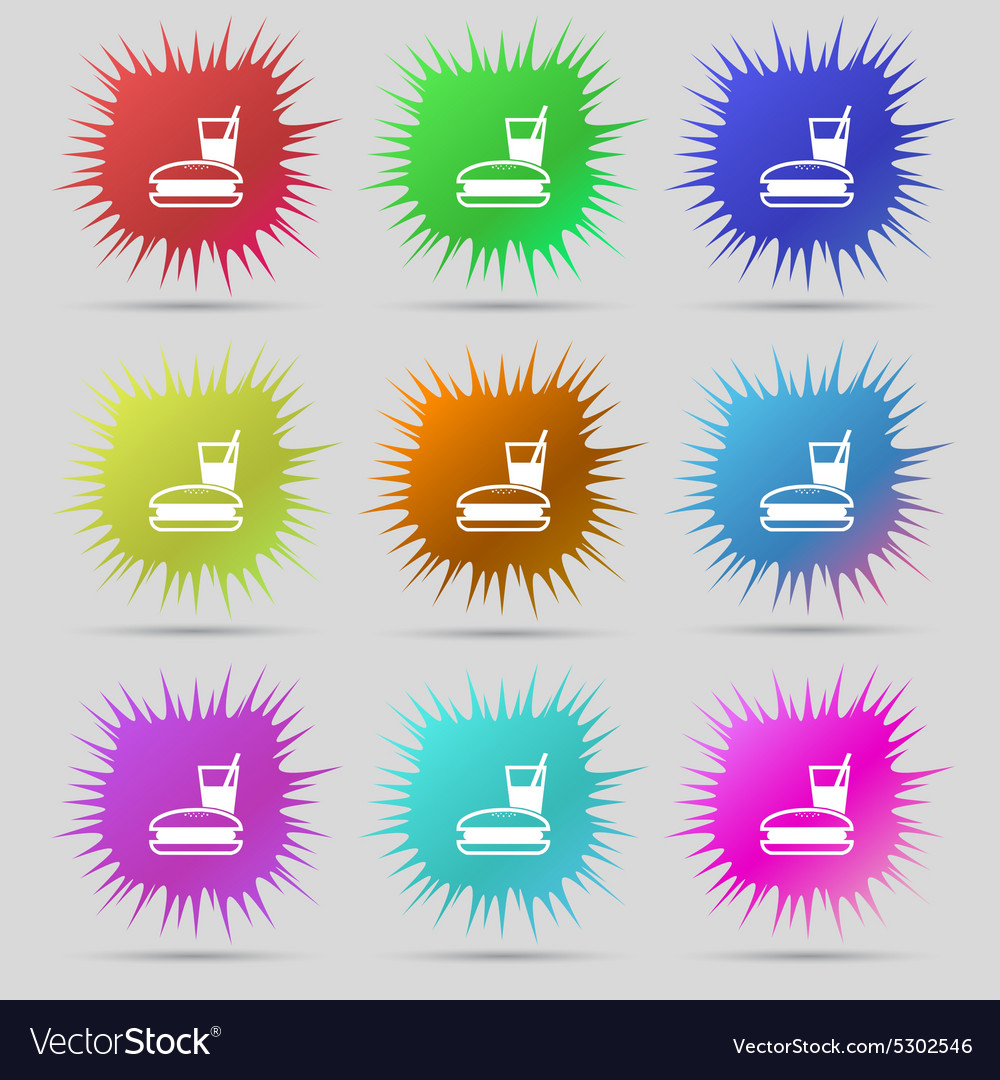 Lunch box icon sign A set of nine original needle vector image