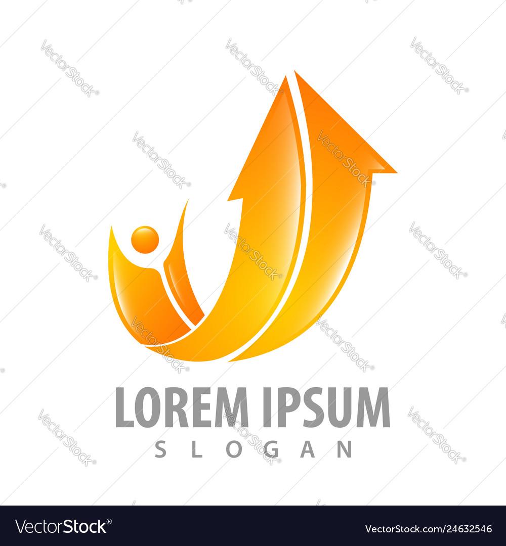 Orange arrow up with human concept design symbol