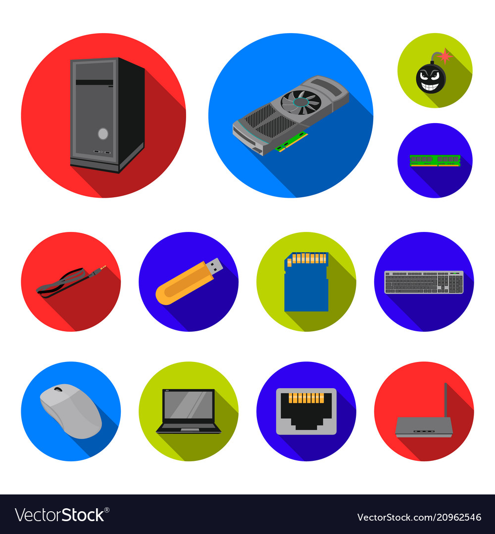 Personal computer flat icons in set collection for