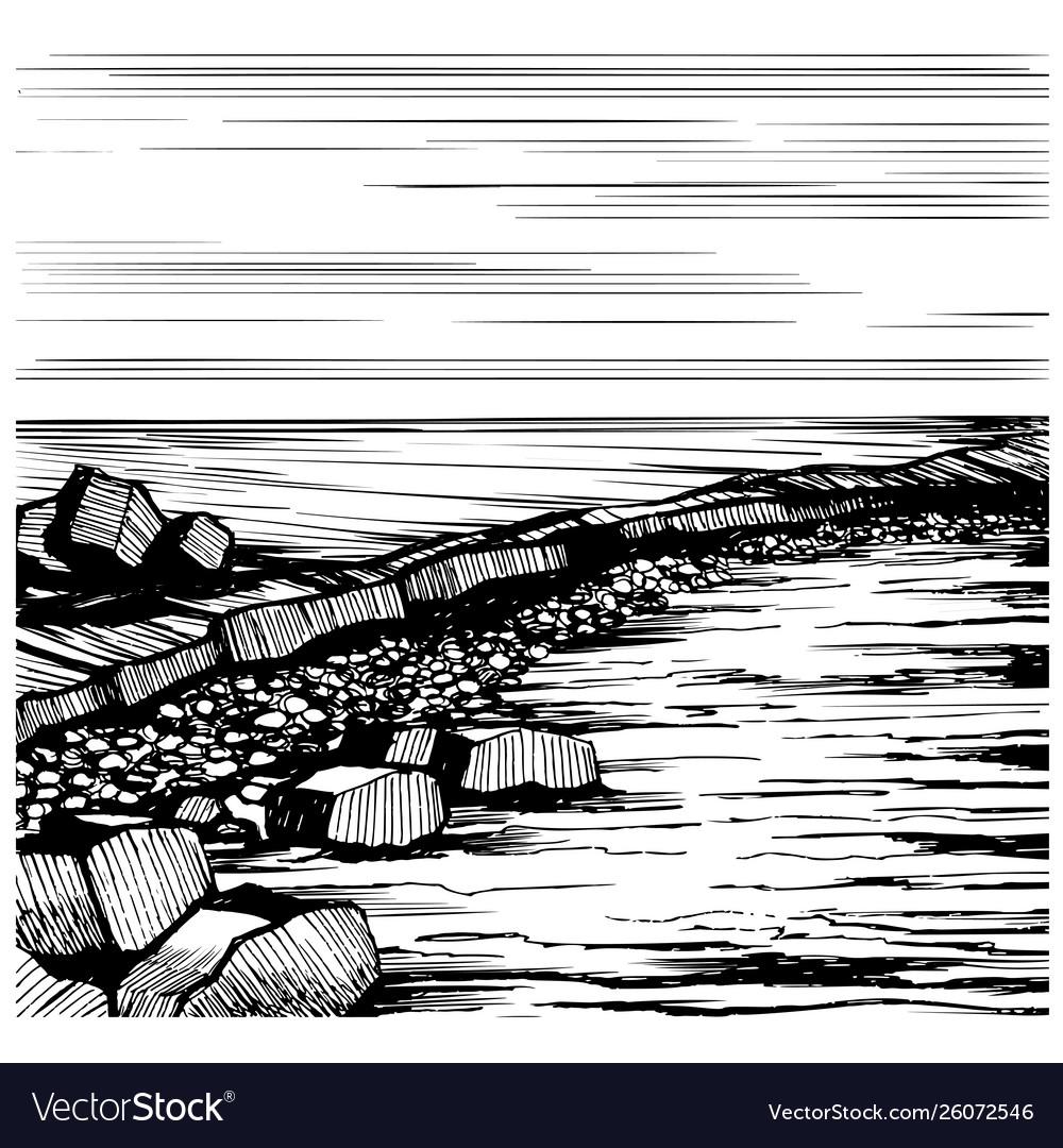 Seascape beach sketch