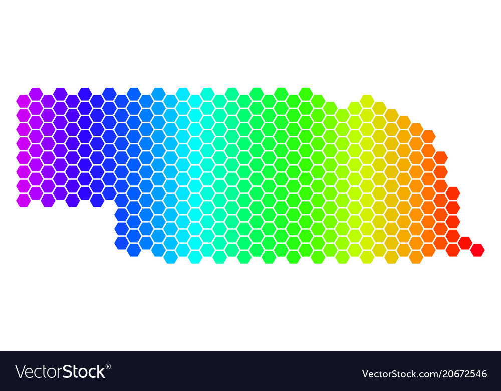 Spectrum hexagon nebraska state map Royalty Free Vector