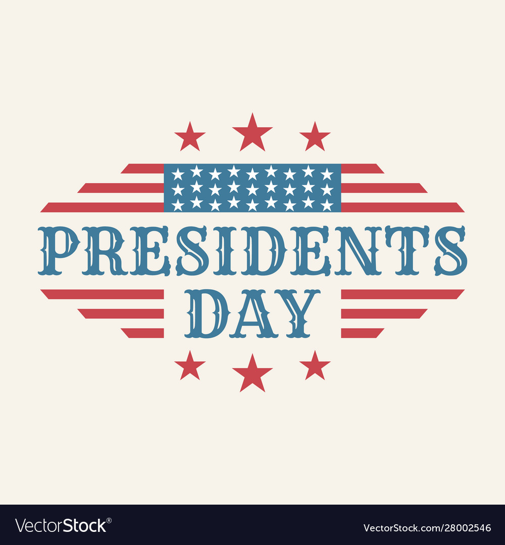 Vintage text presidents day with american color