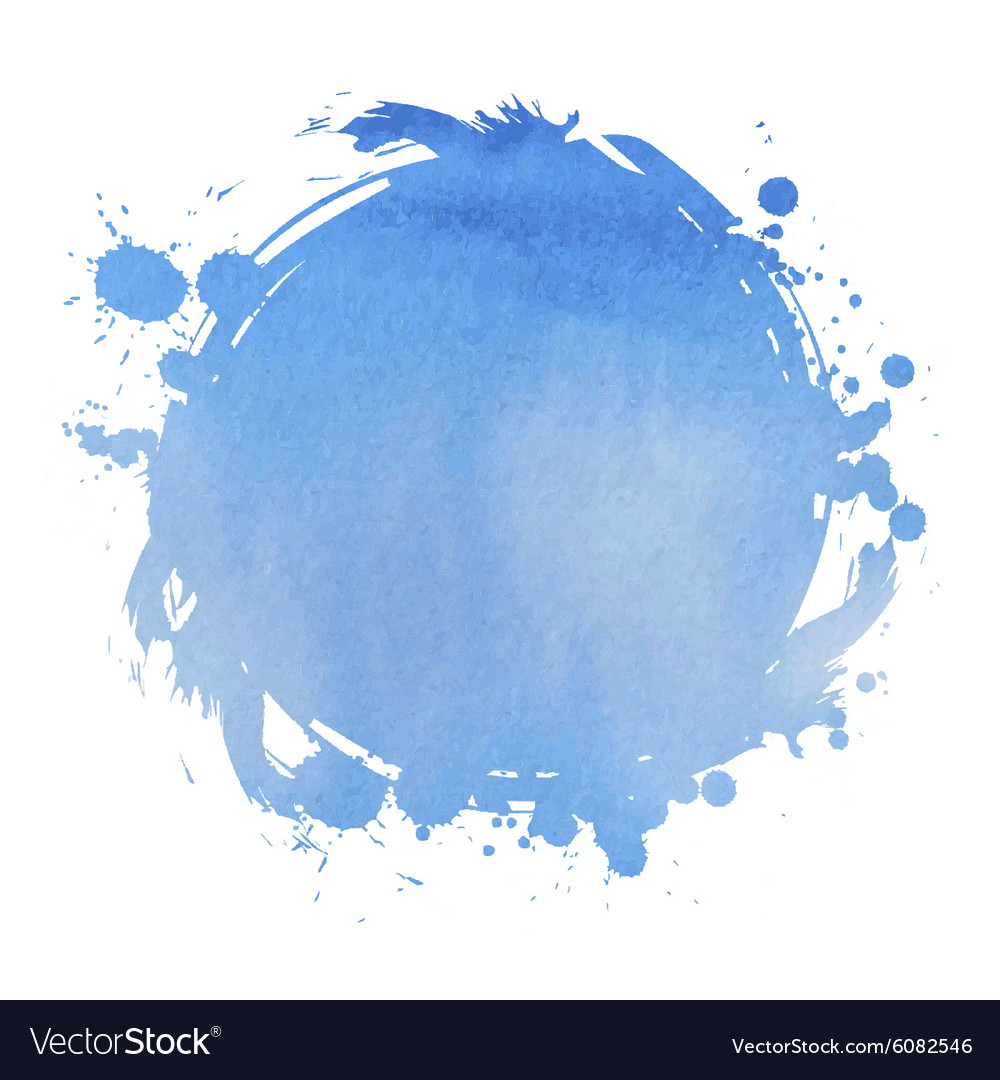 Wedding invitation card with blue watercolor blot