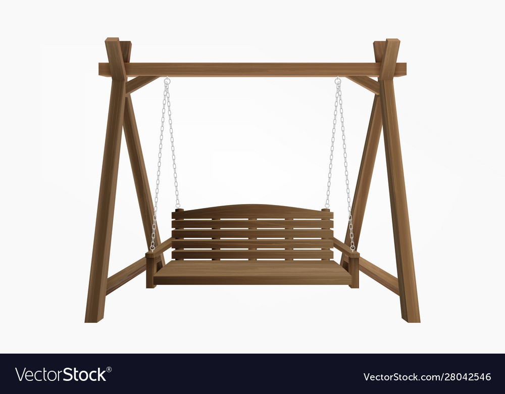 Wooden Porch Swing Bench Hanging On Frame