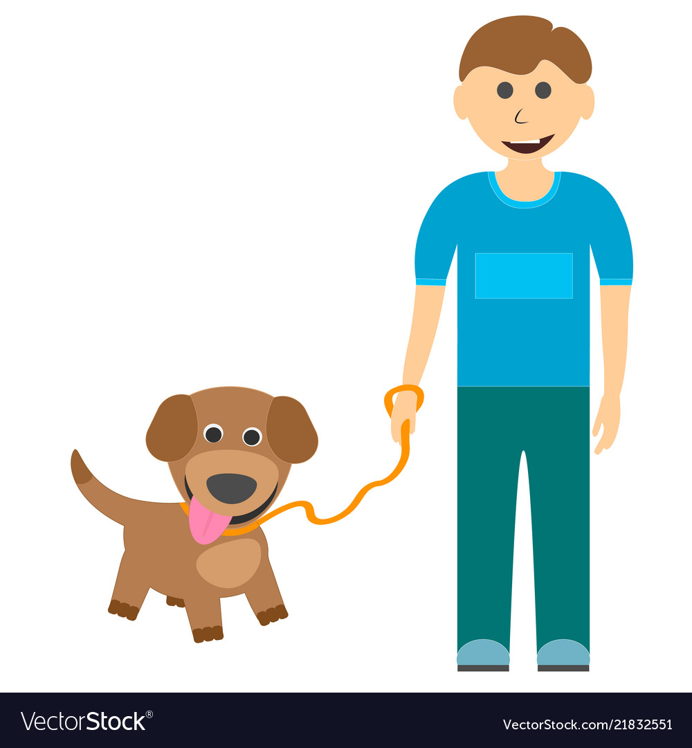 A boy with a cute puppy on a walk