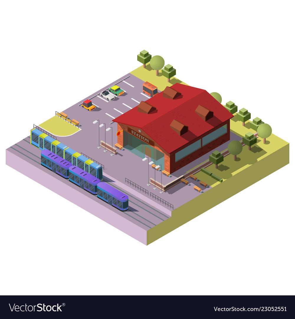 City railway station building isometric