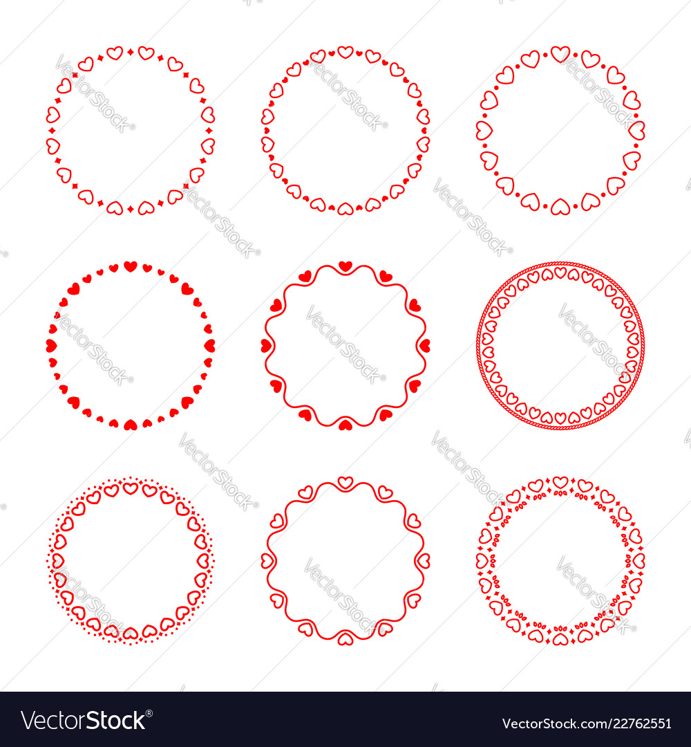 Collection of simple romantic round frames