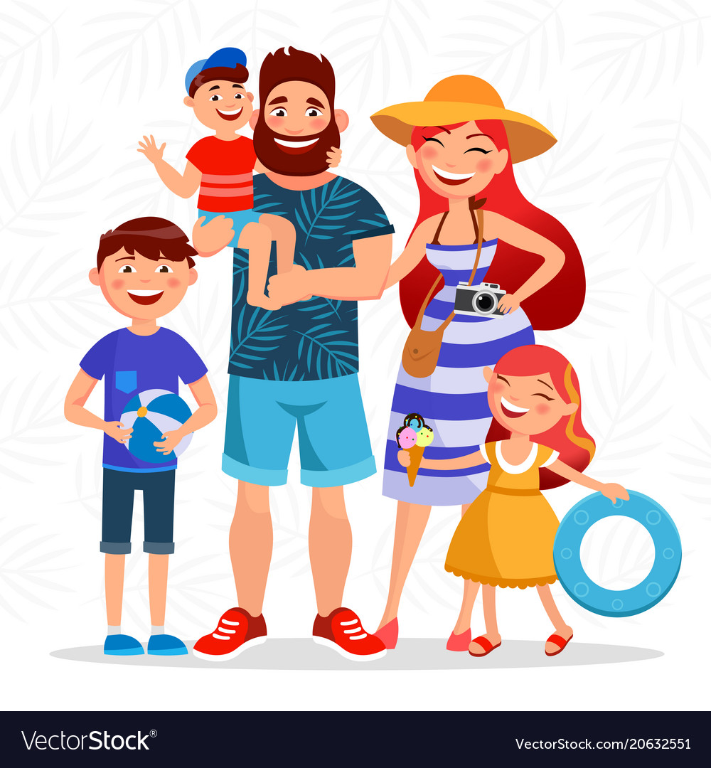 Happy Family On Summer Vacation Going To The Beach Vector Image