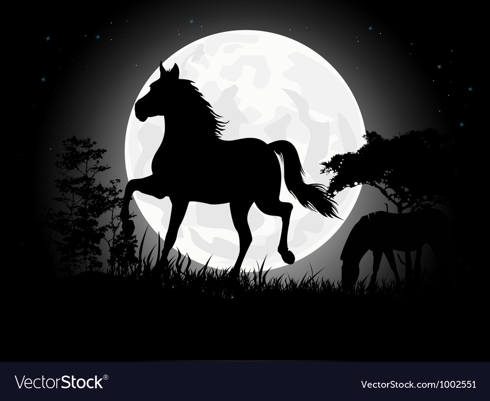 Horse silhouettes with giant moon background