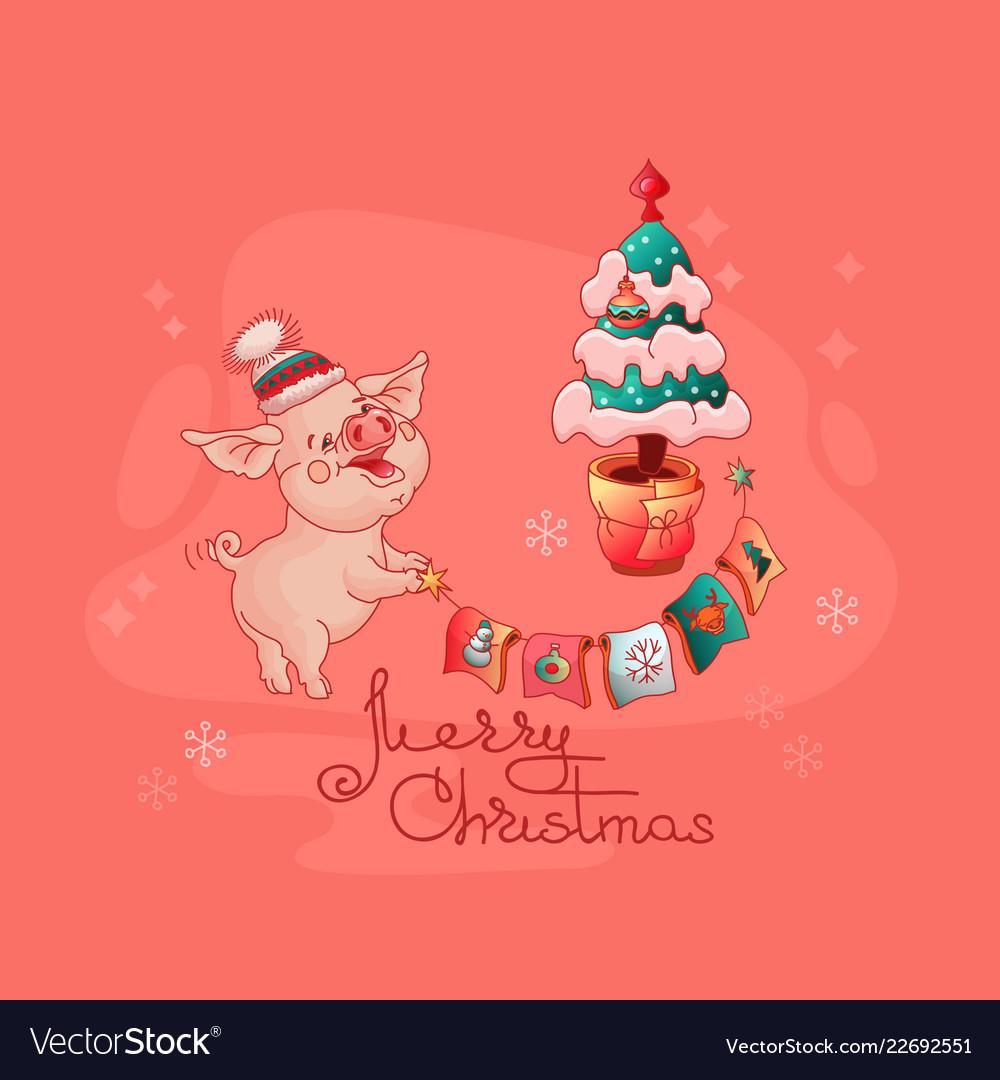 Christmas Pig.Merry Christmas Pig And Christmas Tree