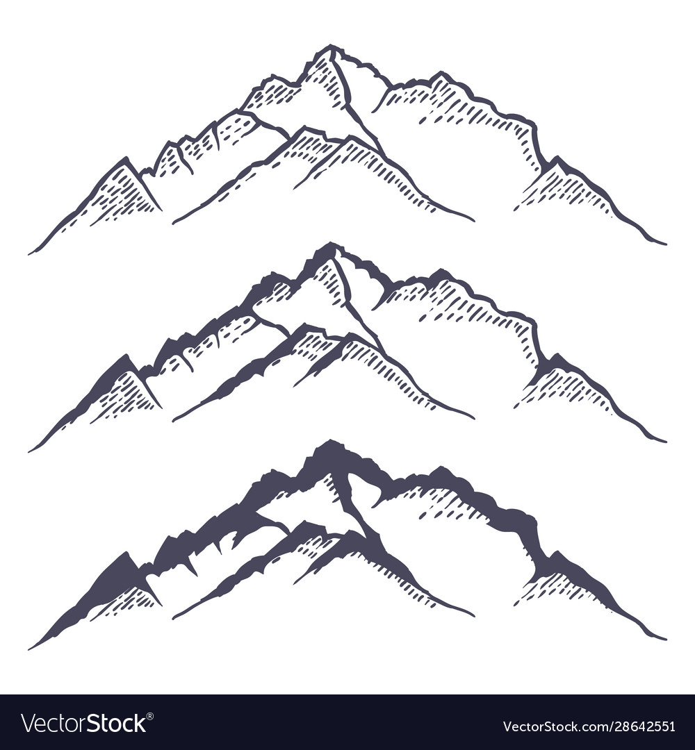 Mountain ridge or range hand drawn with contour