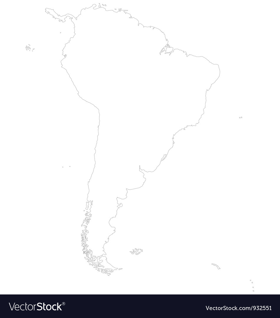 Outline map of South America Royalty Free Vector Image