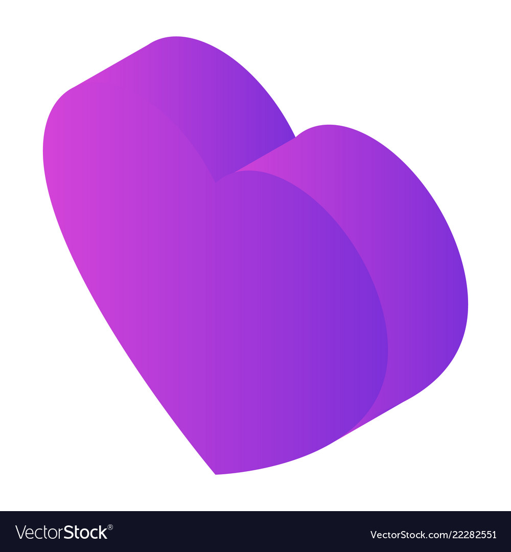 Purple heart icon isometric style