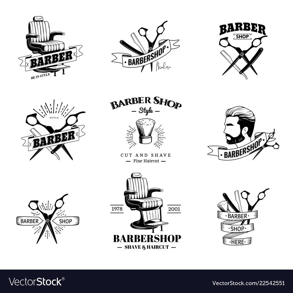 Set of retro barber shop emblems