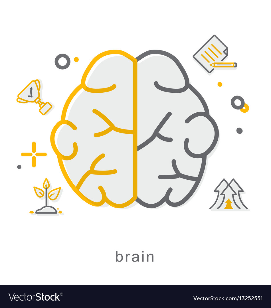 Thin line icons brain
