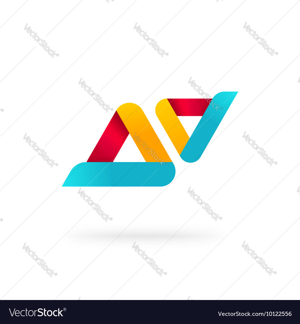 Abstract two rounded colorful geometric triangles vector image