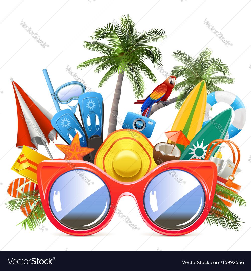 Beach concept with red sunglasses