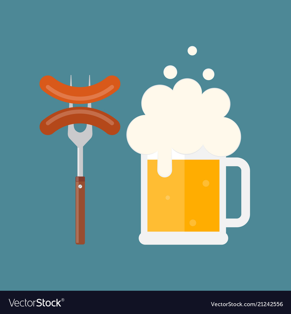 Beer mug with foam and sausage on a fork