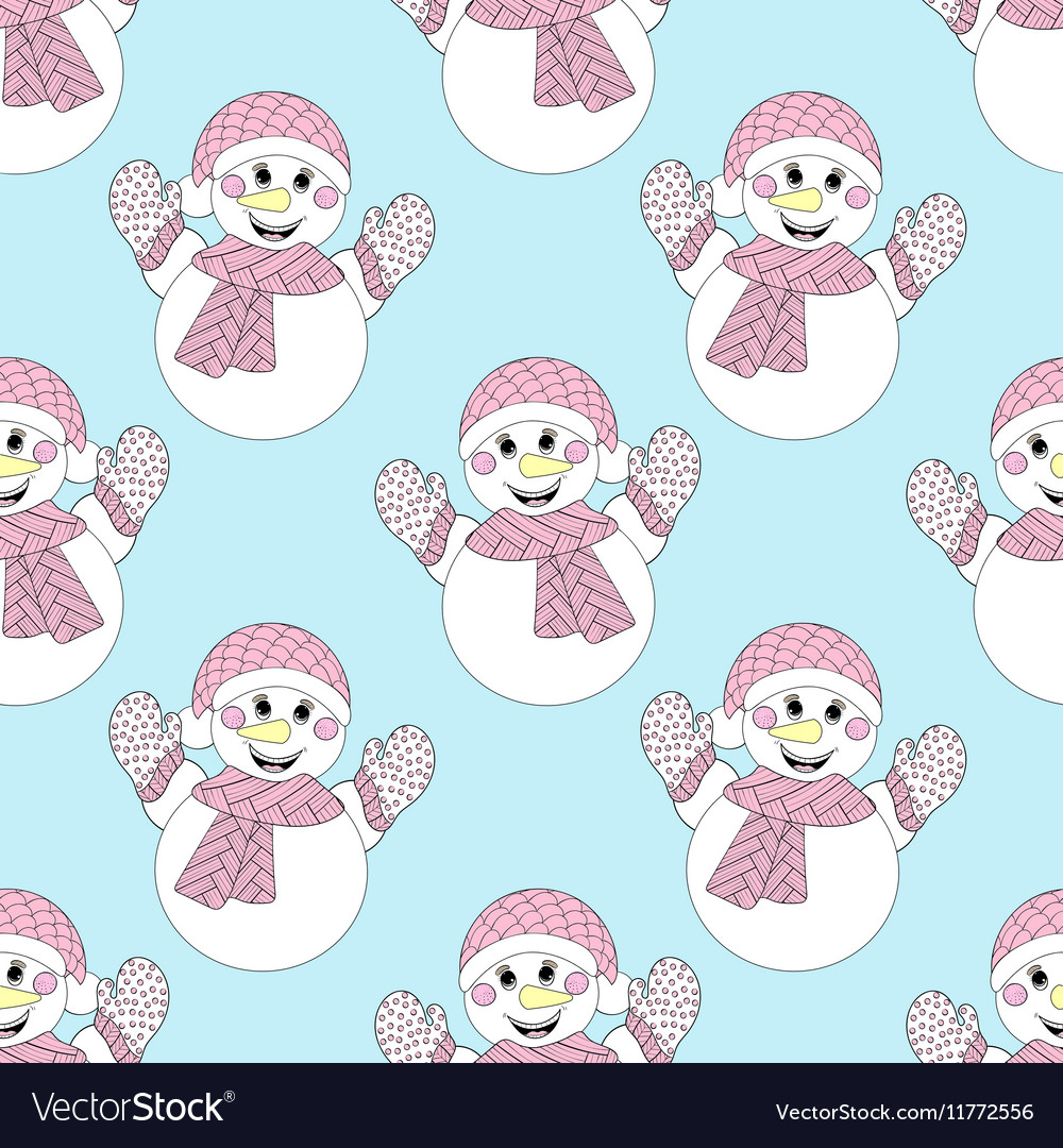 Blue snowman seamless pattern hand drawn christmas